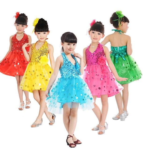 Bambini bambini paillettes fringe vestito performance sul palco per le  ragazze concorso ballroom salsa dance costume 2c9f2c52d018
