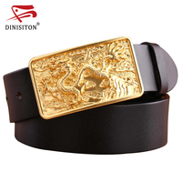 DINISITON Top Layer Leather Belt Dragon Solid Brass Buckle Luxury Genuine Leather Loong Designer Belt Men