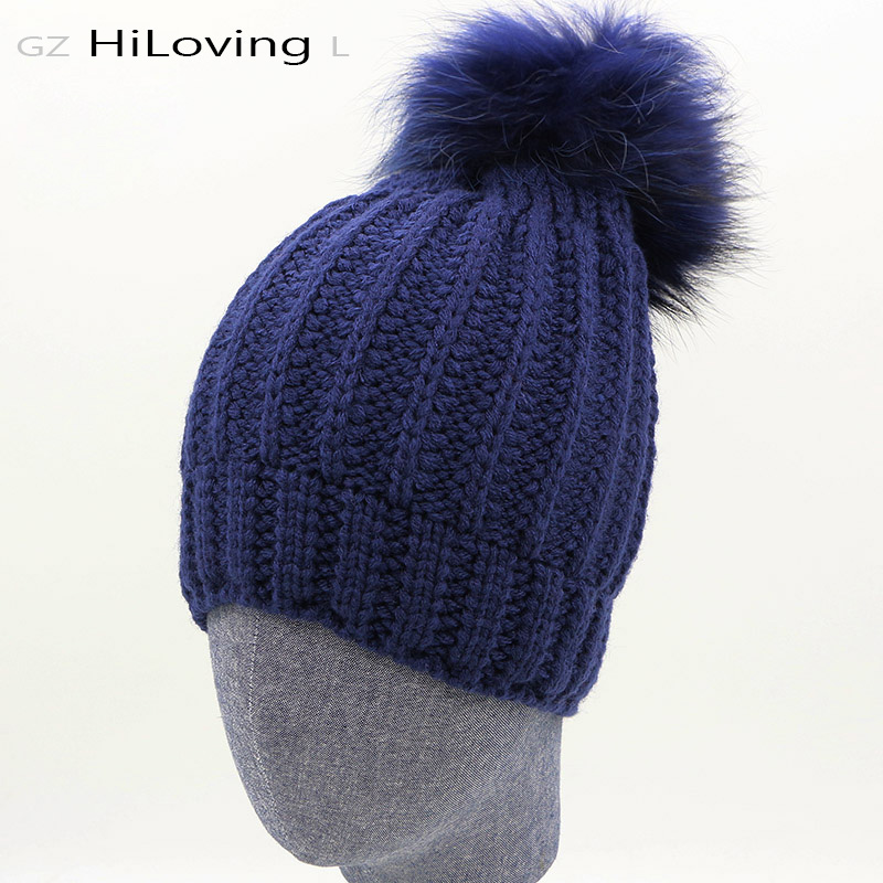 Brand Womens Winter Hats Wool Rabbit Fur With Real Raccoon Fur Pom Pom Beanie Hat Solid Color Striped Girls Gorros Skullies Cap платье le fate платья и сарафаны мини короткие