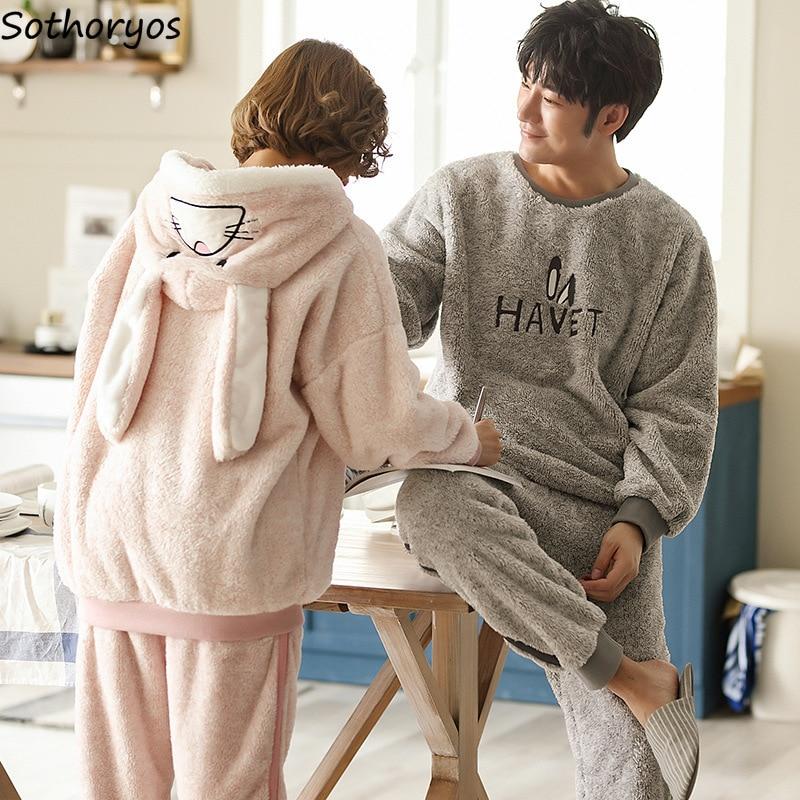 Image 4 - Pajama Sets Women Thicker Coral Fleece Hooded Cartoon Kawaii Warm Pajamas Womens Winter Two Pieces Homewear Soft Set Korean-in Pajama Sets from Underwear & Sleepwears
