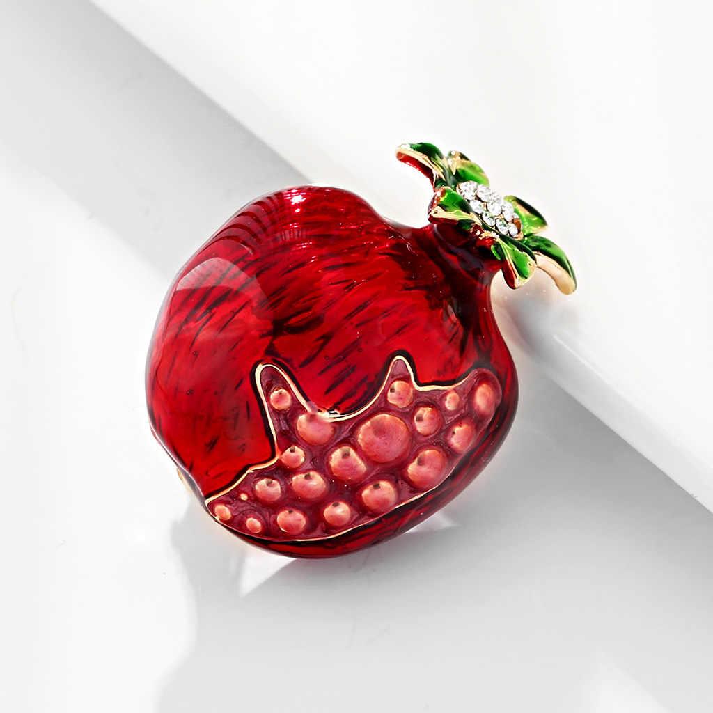 Schöne Rote Granatapfel Broschen für Frauen Mädchen Männer Emaille Pin Obst Pins Party Kleidung Pullover Anzug Mantel Schal Schmuck Geschenke