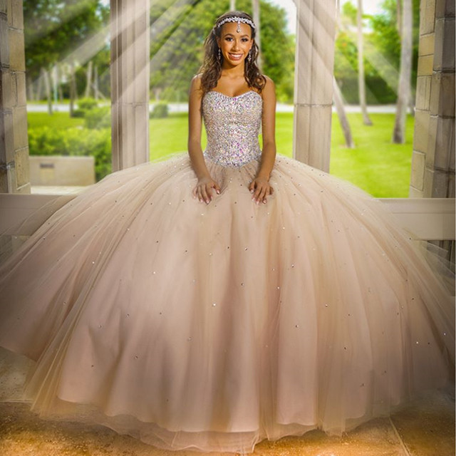 e2dcc9b5e3b Beaded Strapless Tulle Ball Gowns Champagne Quinceanera Dresses 2017 ...
