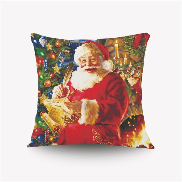 christmas decorative pillow case santa claus snowman cushions car cover halloween throw pillows covers for sofa