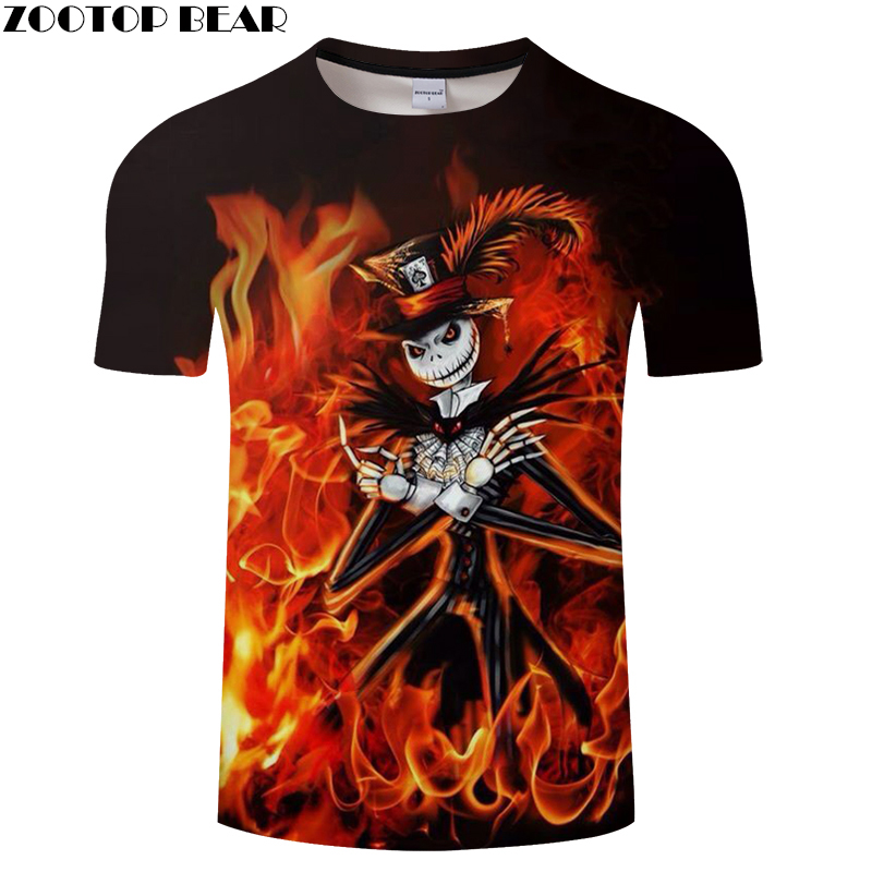 Jack Prints tshirt Men t shirt 3d Halloween Top Tee Fire Skull t-shirt Short Sleeve Funny Camiseta 2018 Drop Ship ZOOTOP BEAR