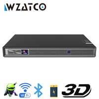 WZATCO T5 HD 4K réel 3D DLP projecteur batterie avec Zoom, clé de voûte automatique, Android 6.0 wifi LED Proyector intelligent Bluetooth Airplay