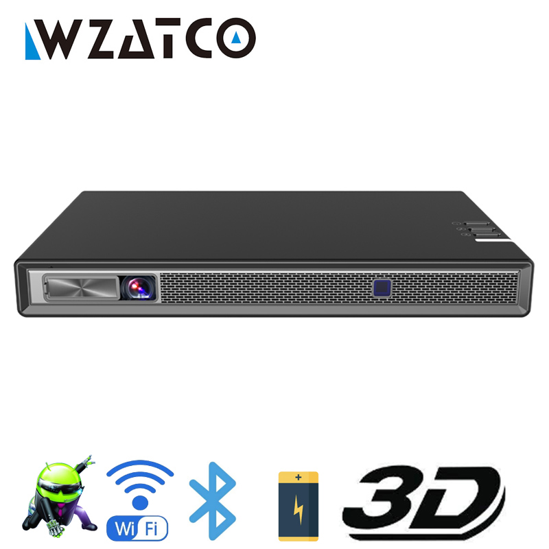 WZATCO T5 HD 4K Real 3D DLP Projector Battery with Zoom, Auto Keystone,Android 6.0 WiFi LED Smart Proyector Bluetooth Airplay-in LCD Projectors from Consumer Electronics