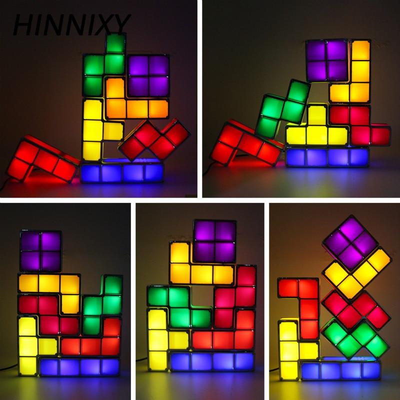 Hinnixy veilleuse bébé bricolage Tetris Puzzle lumières empilables Cube nouveauté jouet chevet lampe LED colorée décor cadeau pour enfants