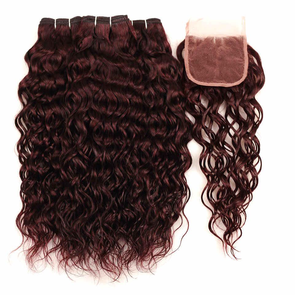 Бразильские волосы плетение 3 пучка с закрытием Бургундия волна воды пучки с закрытием красный 99J Pinshair толстые человеческие волосы не Реми
