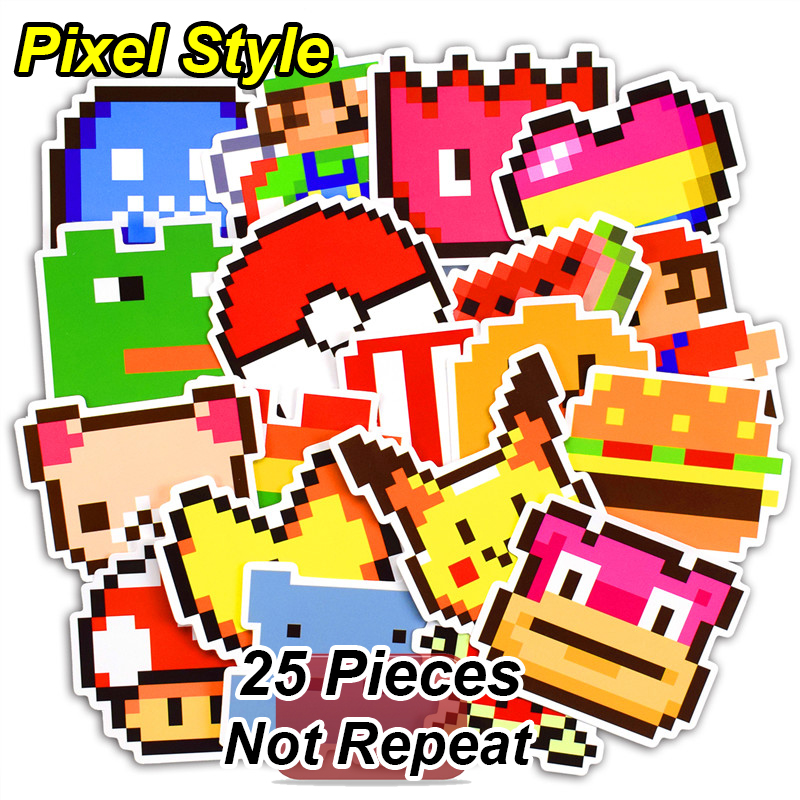 New 25 Pcs Pixel Style Cartoon Stickers for Laptop Luggage Skateboard Motorcycle Car Styling Home Decor Decal Waterproof Sticker
