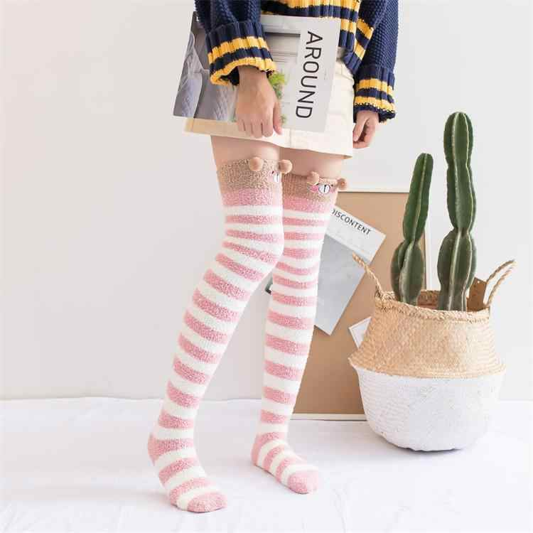 a34f40c1268 Harajuku Kawaii Stockings Women Sweet Girls Long Socks Animal Velvet Warm Thigh  High Socks Cute Soft