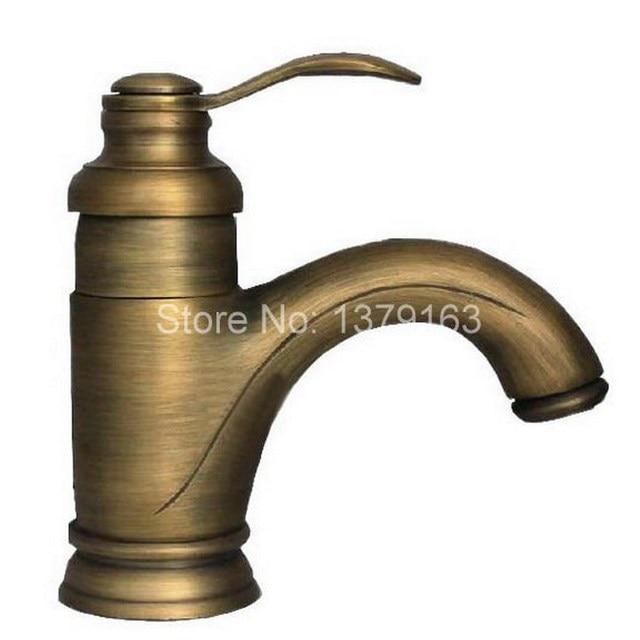 Antique Brass Single Lever Handle Bathroom Faucet Vessel Sink ...