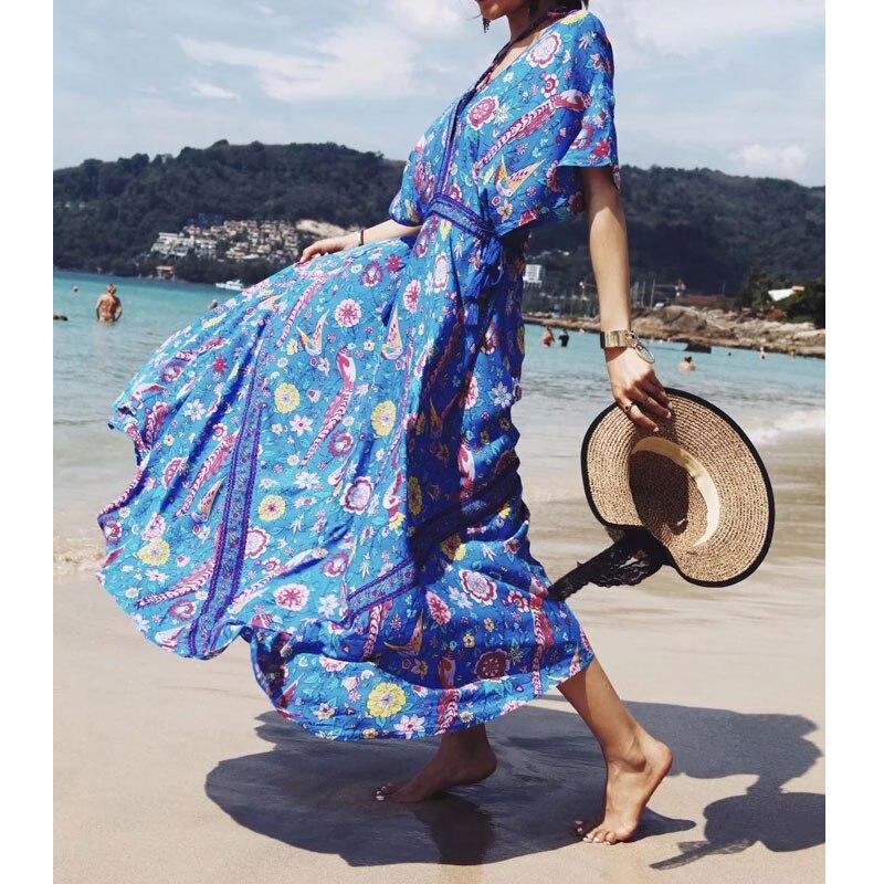 Lovebird imprimé Boho Vintage robe femmes 2019 nouveau printemps été Maxi Hippie Chic col en V vacances robes de plage longs Vestidos