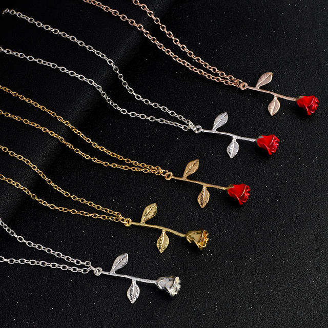 98ea12805e18 placeholder Rose Necklace Rose Gold Silver Red Rose Pendant Necklace Charm  Initial Flower Necklace for Women Friends