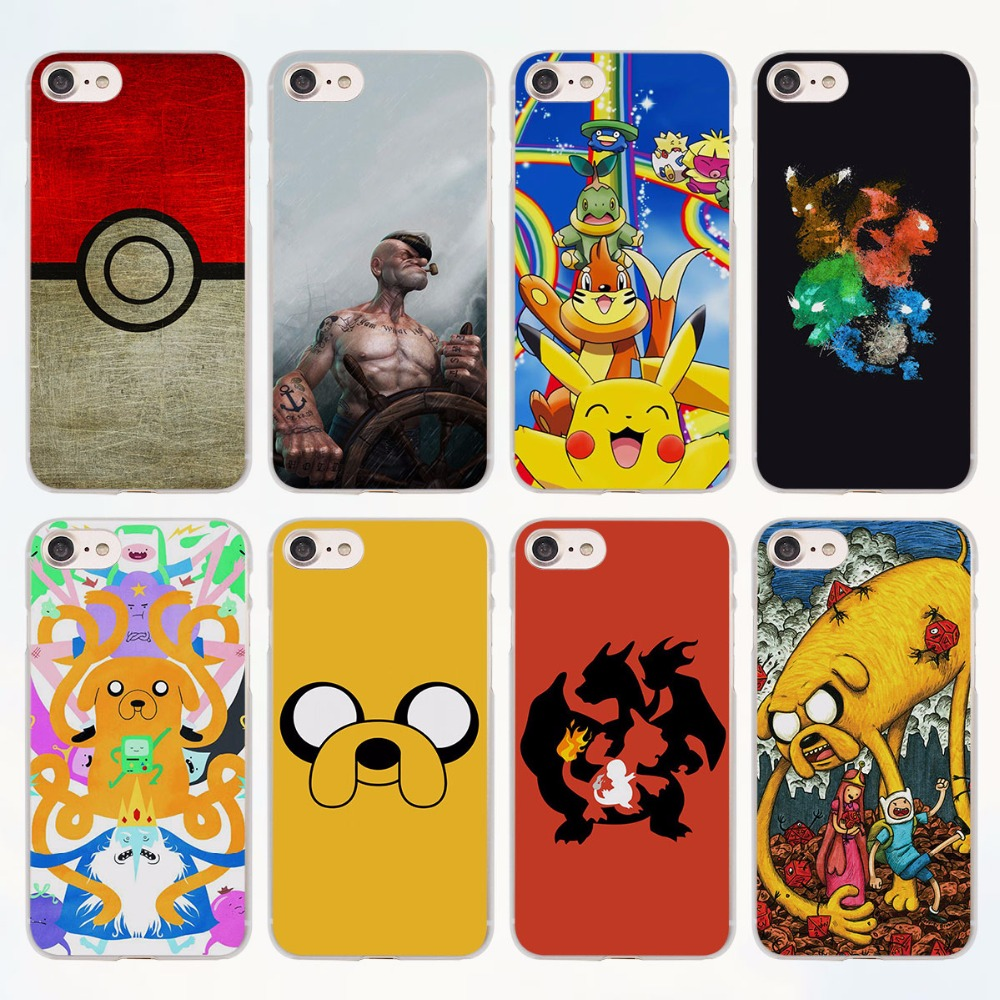 Popular Adventure Time pokeballs popeyes anime design transparent clear Cases Cover for Apple iPhone 6 6s Plus 7 7Plus SE 5 5s 4