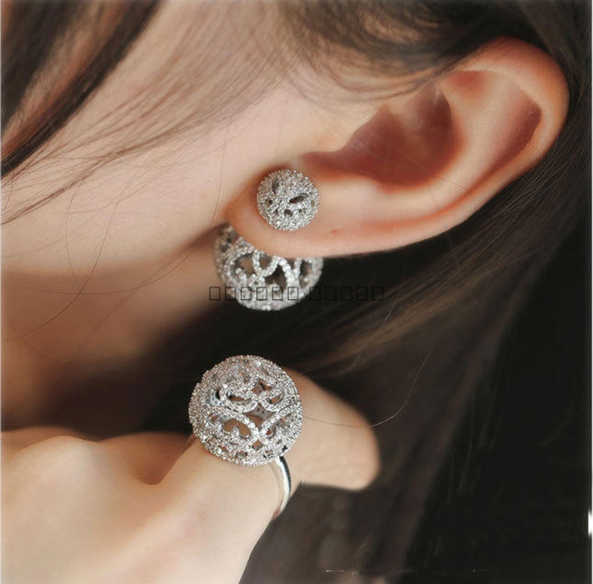 Luxury Double Sided Full Micro Cubic Zirconia Pave Setting Ball Engagement Party  Earring
