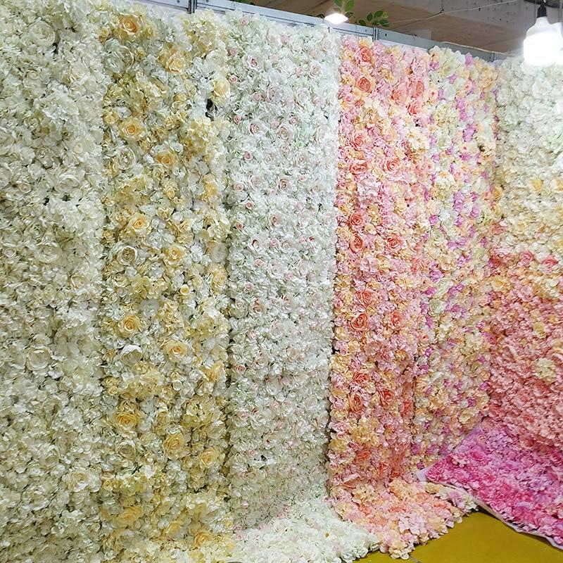 40*60cm Artificial Flower Wall Rose Peony Flower Heads Silk Decorative Flower Wedding Hotel Background Wall Decor 10pcs/lot