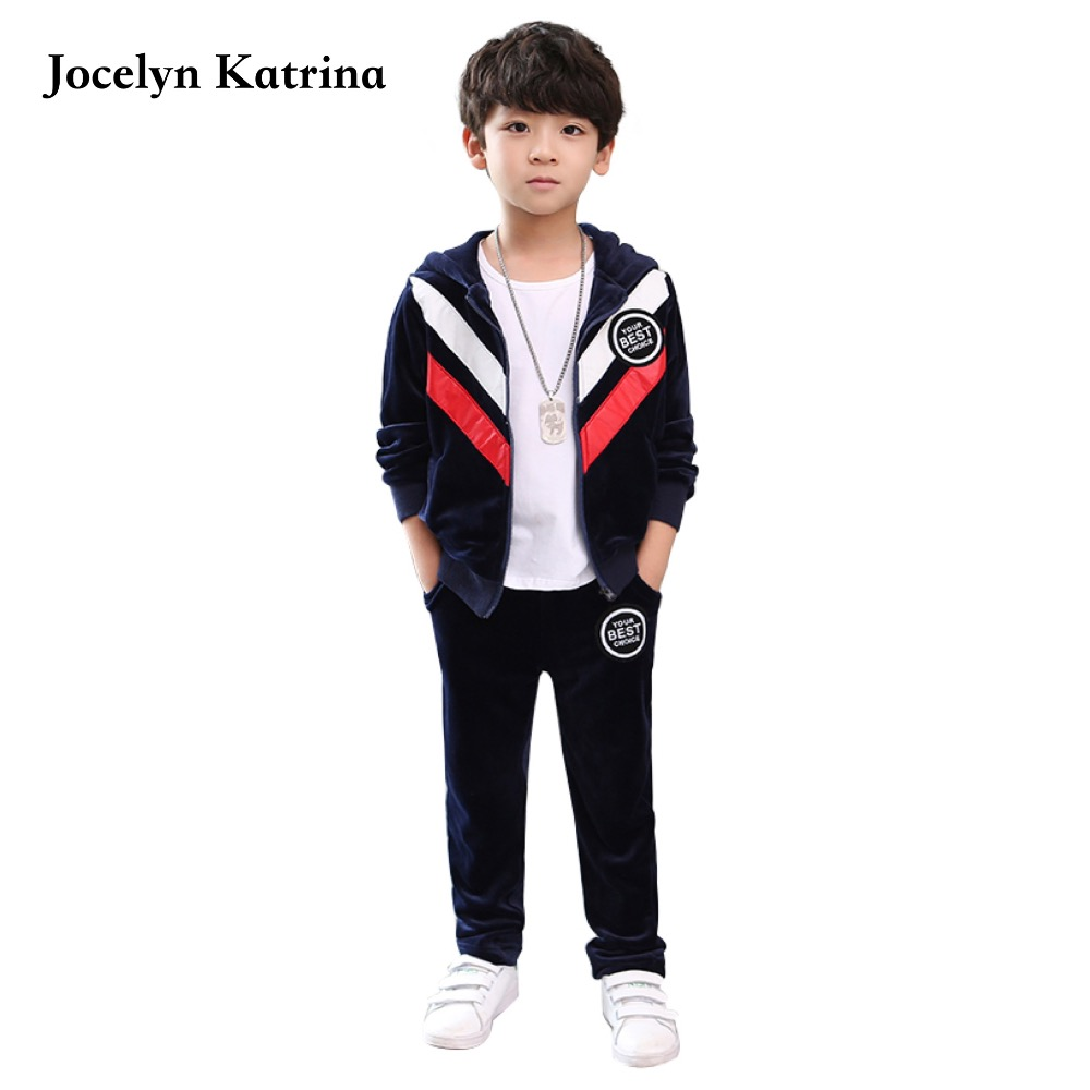 Kids Clothes Boys 2017 Baby Boys Autumn Hoodied Coats And Jackets Pants Set Fashion Children Clothing Sports Suit For Boy  недорого
