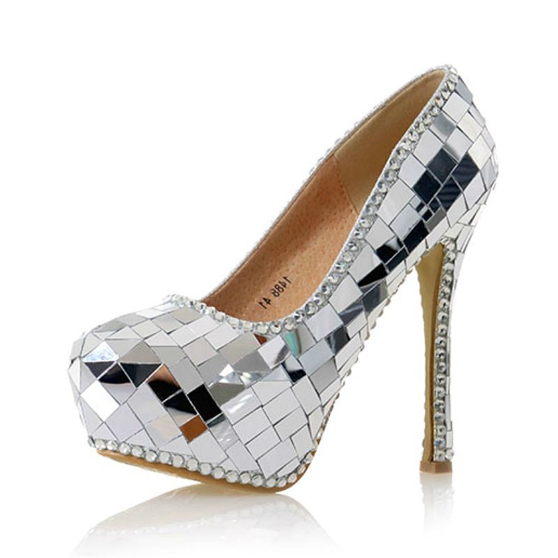 Women Wedding Pumps Bling Crystal Sexy High Heels Ladies Sequins Shoes Round Toe Female Shoes Sliver Champagne Dark Coffee