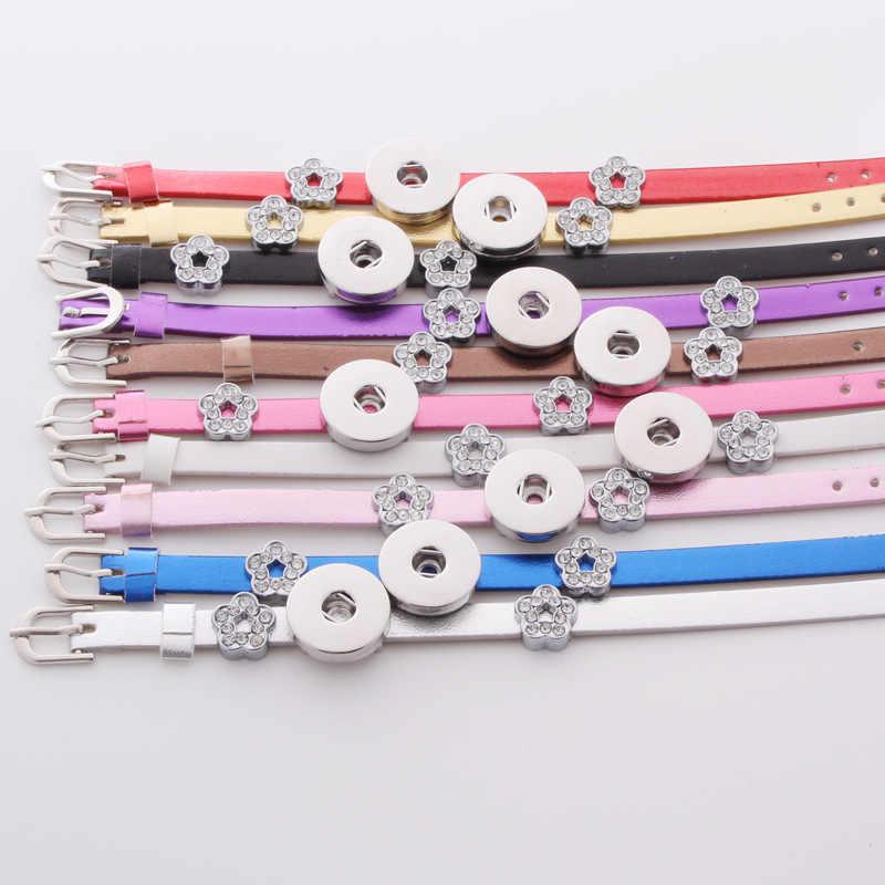 """10 צבעים צמידי עור PU לגברים DIY כפתורי הצמד מתכת צמידים שעונים נשים כיוון אחד (Fit 18 מ""""מ 20 מ""""מ הצמד) ZE134"""