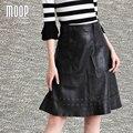 Faldas de las mujeres falda de Una Línea de negro de cuero genuino ojales decoración faldas jupe saia LT915 etek 100% envío libre de la falda de piel de cordero