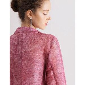 Image 4 - Women blazers 50% 실크 50% 리넨 솔리드 3/4 sleeved office 레이디 블레이저 2019 new fall winter out wear