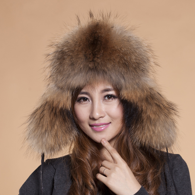 2015 Hot Sale Top Fashion Casual Floral Mask Hats For Raccoon Mao Leifeng Hat Man Section Cap Winter Fur Grass Free Shipping