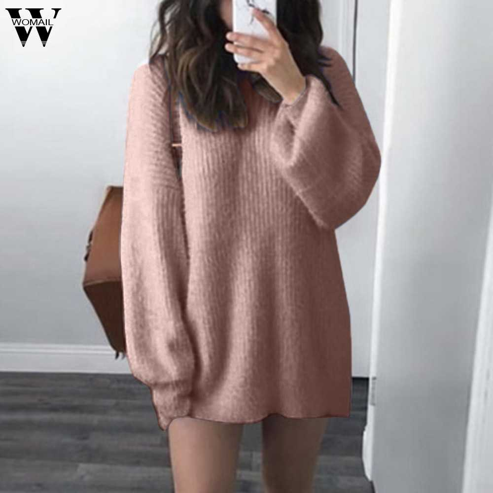 Winter Women Pullovers Sweater Knitted Casual O-Neck Loose Knitted Warm  Jumper Fashion Slim Turtleneck f49b335a3929