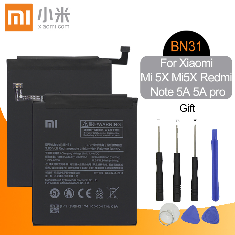 Xiao Mi Original BN31 Replacement Phone <font><b>Battery</b></font> High Capacity 3000mAh For <font><b>Xiaomi</b></font> Mi 5X <font><b>MiA1</b></font> Mi5X Redmi Note 5A 5A Pro Free Tools image