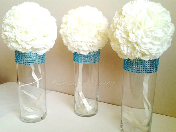 Wedding Acrylic Bridal Party Bouquet Holders Bling Wedding Vases