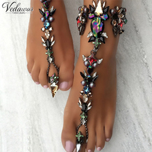 Vedawas 1pcs Hot Selling Design Trend Crystal Beads Barefoot Sandals Women Fashion Hand Chain Jewelry Multicolor Anklet 1733