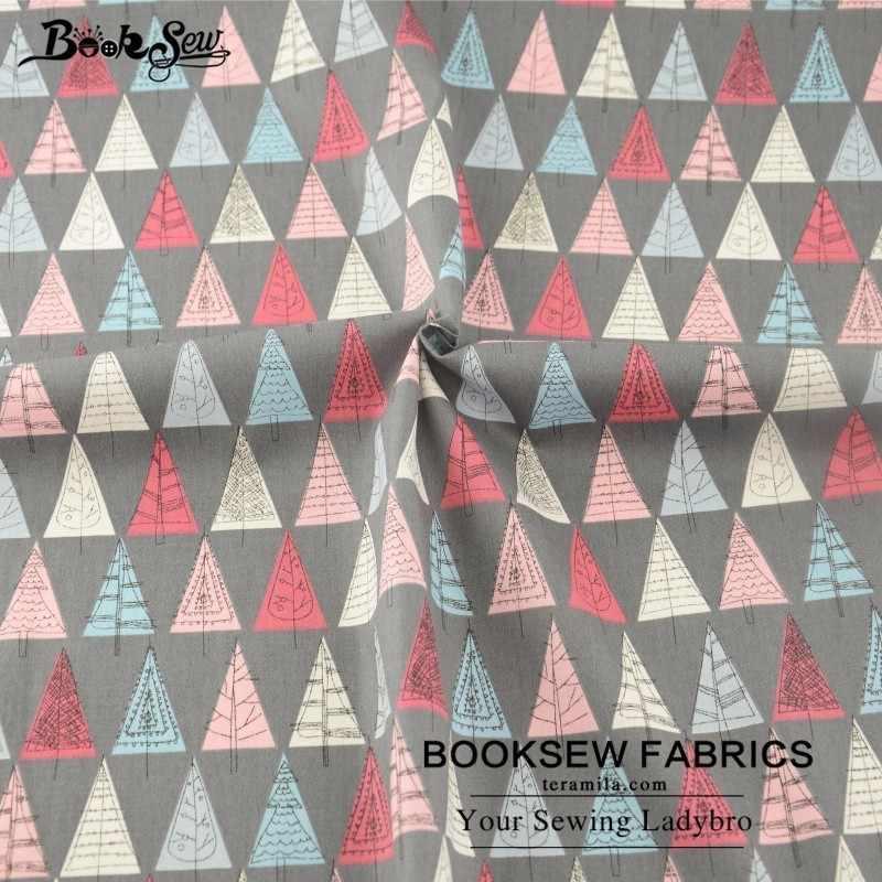 Booksew Acolchar Tela 100% Tela de Sarga de Algodón Triángulo Árbol Patrones Tecido Tela de Costura Para Beding Bebé Muñecas Artesanía Patchwork