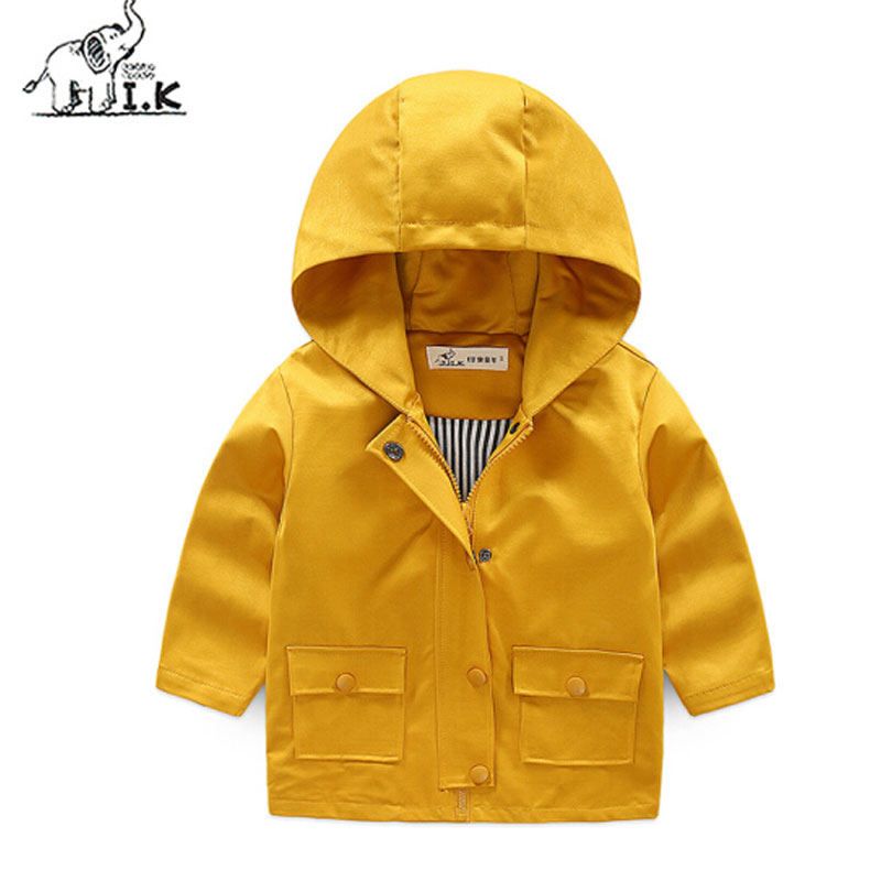 I.K Boy Outwearcoats For Winter Autumn Long Sleeves Solid Hoodies 2017 Fashion Children Kids Girls Clothing Cotton Jacket HJ1009