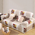 Brown Plaid Polyester Sofa Cover Big Elasticity Flexible Couch Cover Slip-resistant Drawing Room Decorate Loveseat Machine