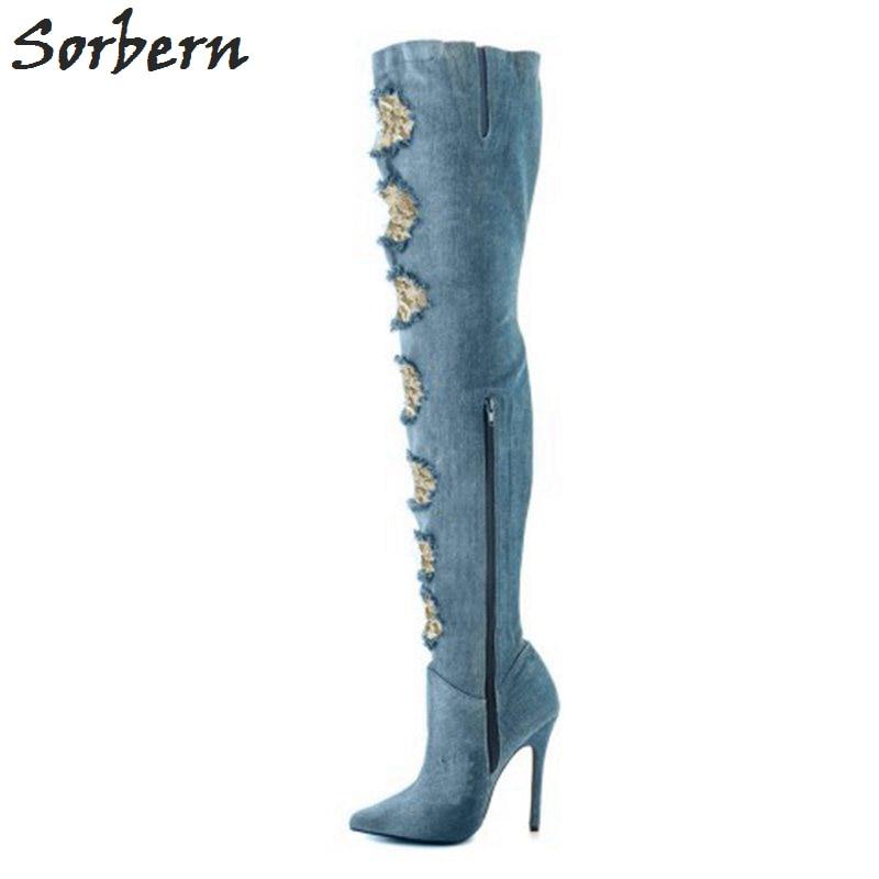 Sorbern Denim выдолбленные длинные сапоги бедро с острым носком женские сапоги зимний стиль на высоком каблуке боковой молнией большого размера