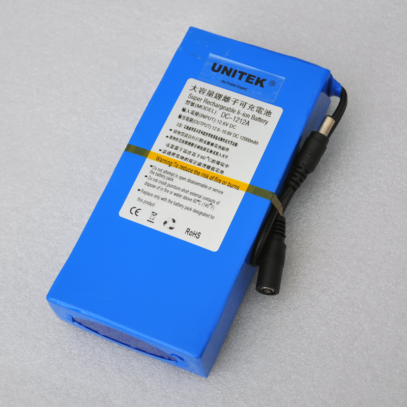 New lithium ion polymer DC 12v battery 12000mah rechargeable cell + 1pcs charger for CCTV camera system UPS Backup power supply