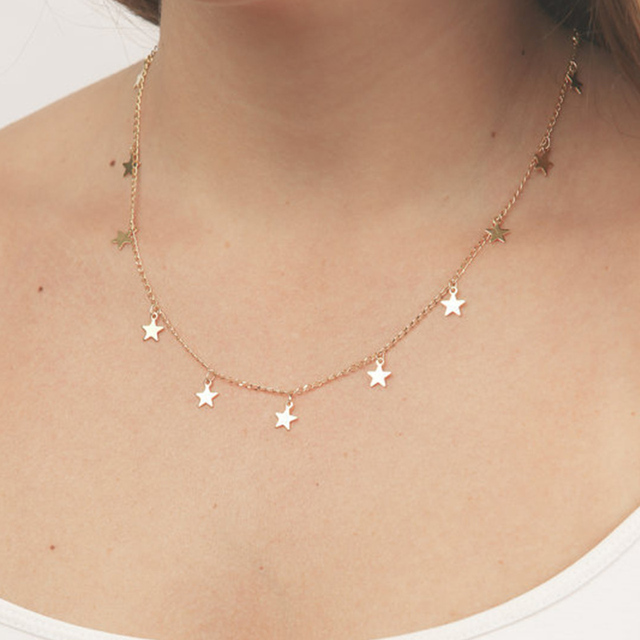Fashion Women Jewelry Natural Alloy The Five-pointed Star Pendant Necklace And H