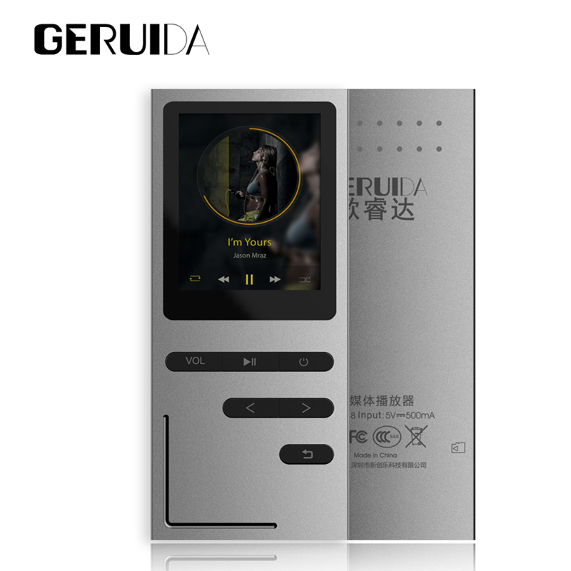 GERUIDA mp3 player Hifi mp3 music player 8GB Metal Body Lossless 1 8 Screen Speaker Arm