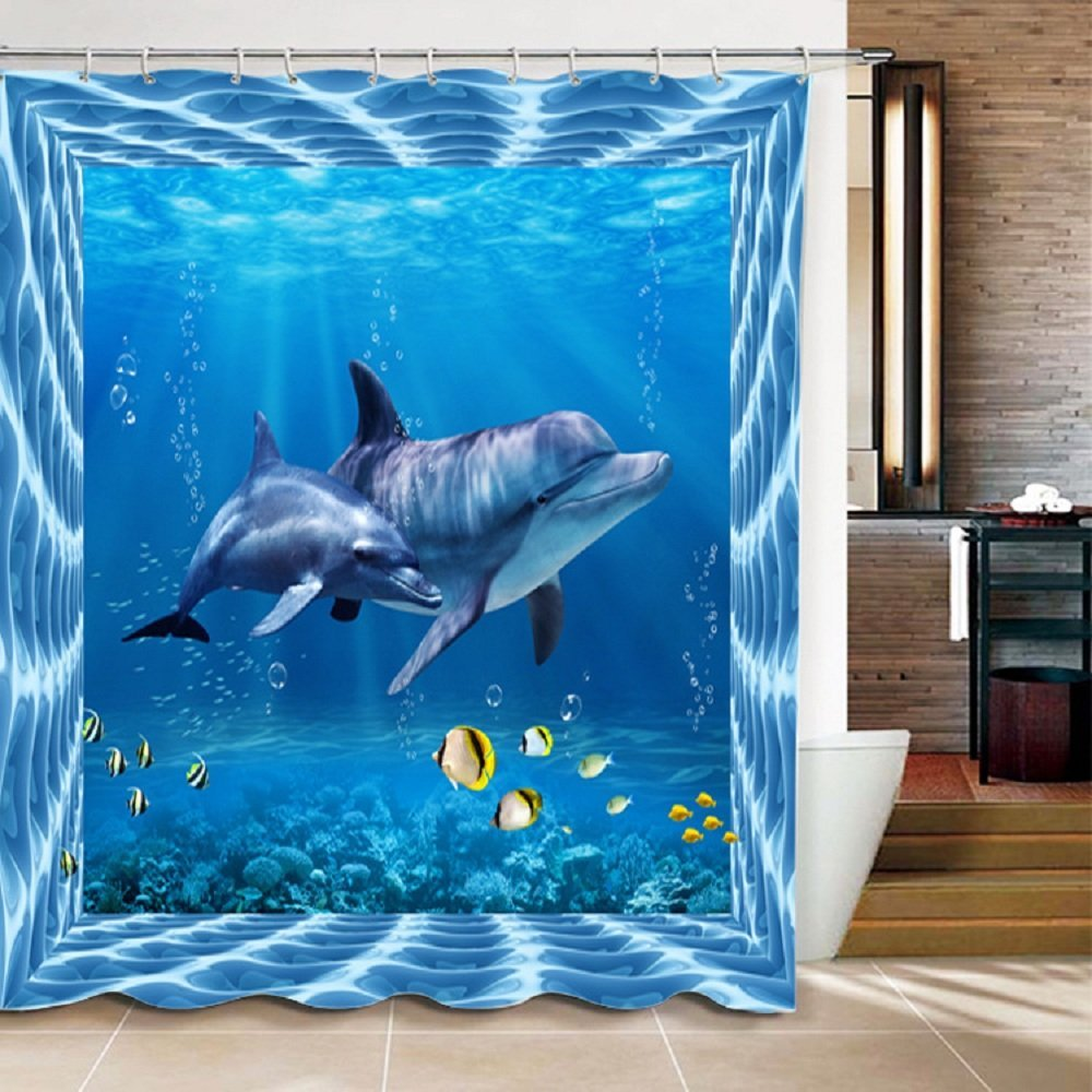 Memory Home Waterproof Modern Mildew Resistance 3D Style Design Sea World Dolphin Polyester