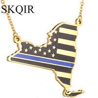 SKQIR USA Map Enamel Pendant Necklace For Women Men Silver Gold Color Fashion Jewelry Wholesale Accessories