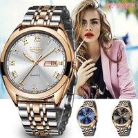Ini Wanita Watch Mens Watcesh Top Brand Mewah Tahan Air Emas Kuarsa Watch Wanita Besi Tahan Karat Date Clock Relogio Masculino