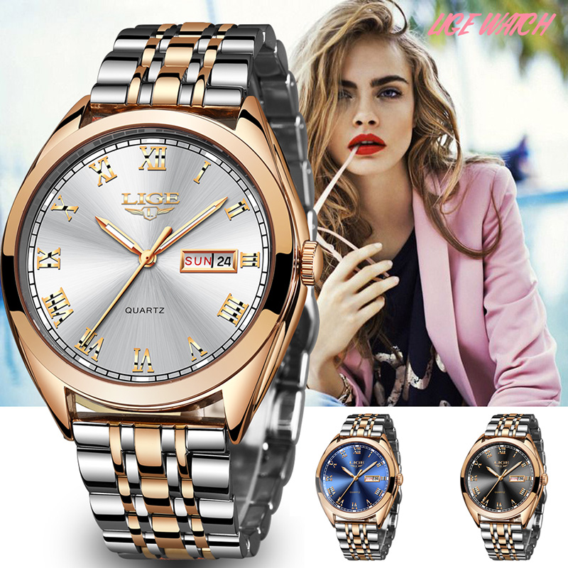 LIGE Women Watch Mens Watcesh Top Brand Luxury Waterproof Gold Quartz Watch Ladies Stainless Steel Date Clock Relogio Masculino