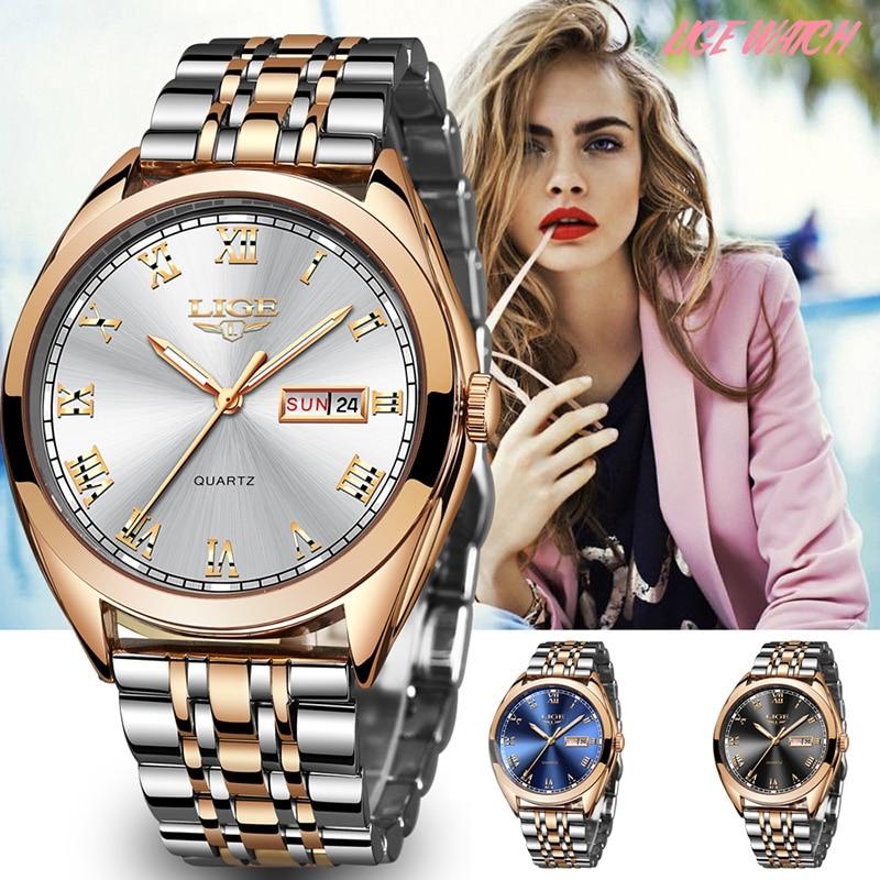 LIGE Women Watch Mens Watcesh Top Brand Luxury Waterproof Gold Quartz Watch Ladies Stainless Steel Date Clock Relogio Masculino