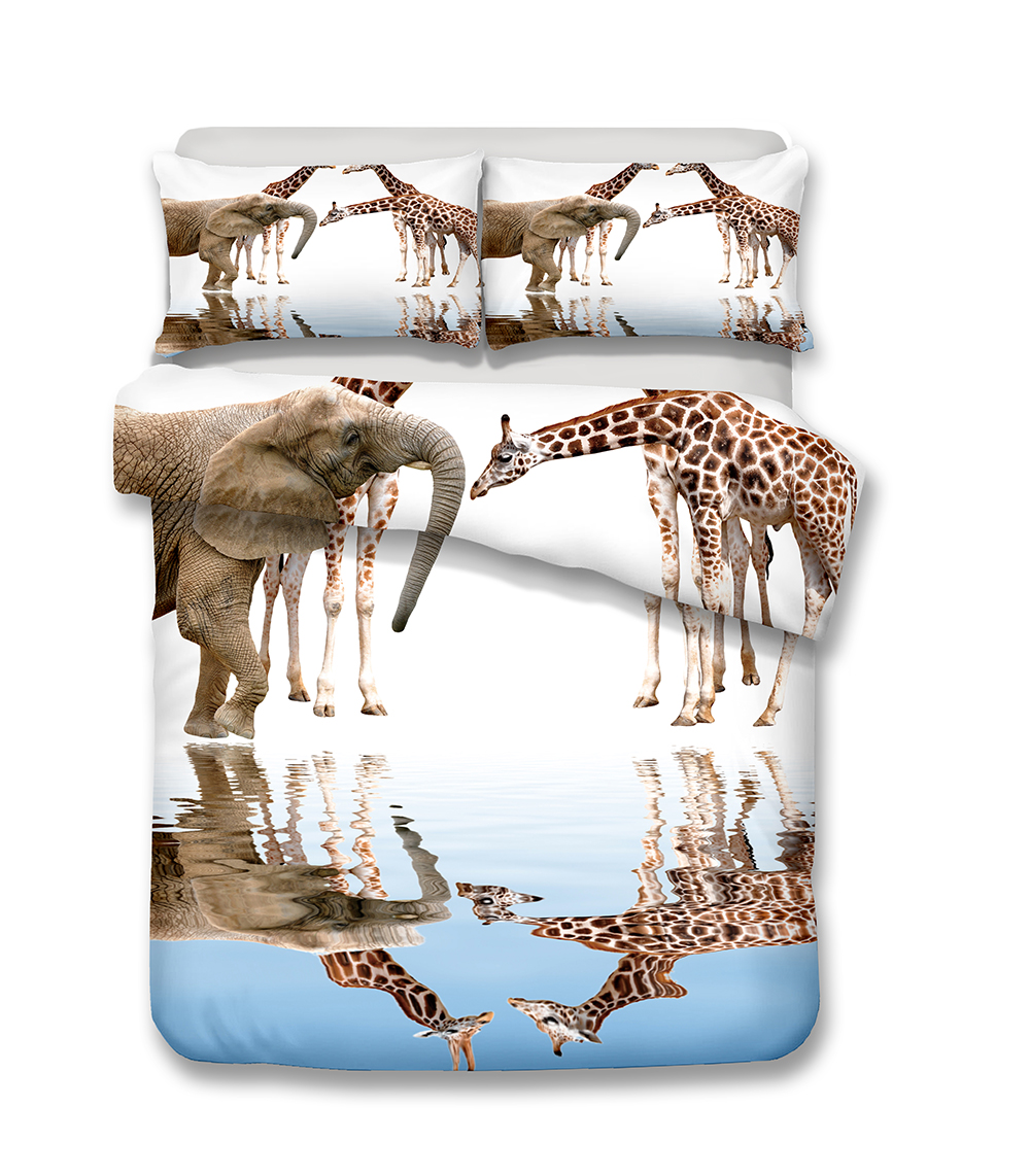 Double Rideaux Soie Sauvage us $30.25 45% off|helengili 3d bedding set giraffe print duvet cover set  lifelike bedclothes with pillowcase bed set home textiles #2 01-in bedding