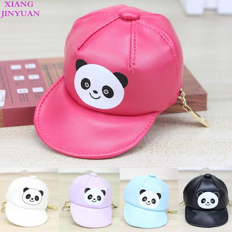 Korean PU Hat Bag Cartoon Girls Bags Children Creative Panda Printing Bag Decoration Kids Purse 2018 Summer New Pink Coin Wallet