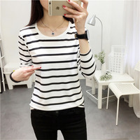 2017 Striped Shirt Long Sleeve Black And White Stripes T Shirt Women Loose Student Bottom T