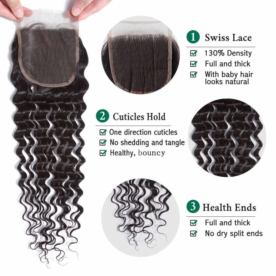 Onda profunda brasileira pacotes com fechamento molhado e ondulado cabelo humano encaracolado apertado pode ser tingido onda profunda 3 pacotes com fechamento remy