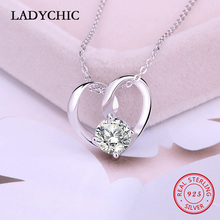 LADYCHIC Pure Smooth 925 Sterling Silver Elegant Love Heart Pendant Paved Clear Zircon Genuine S925 Silver Necklace Gift LNS1008 equte elegant s925 sterling silver white zircon pendant women s necklace white silver