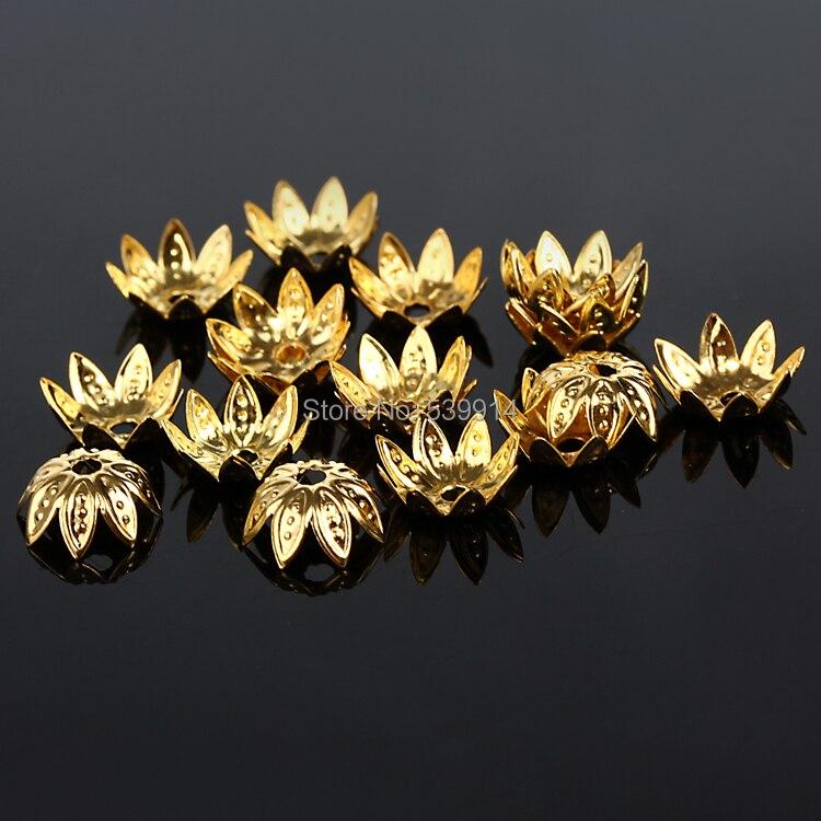 723efbe784 10 MM 1000 Pçs lote (Prata Ouro Bronze Cor) Tampas De Metal Talão de Lótus  Tomada de Ofício Jóias