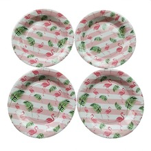 10pcs Birthday Party Disposable Plate Tableware Set Flamingo Paper Summer Hawaii Event Supplies