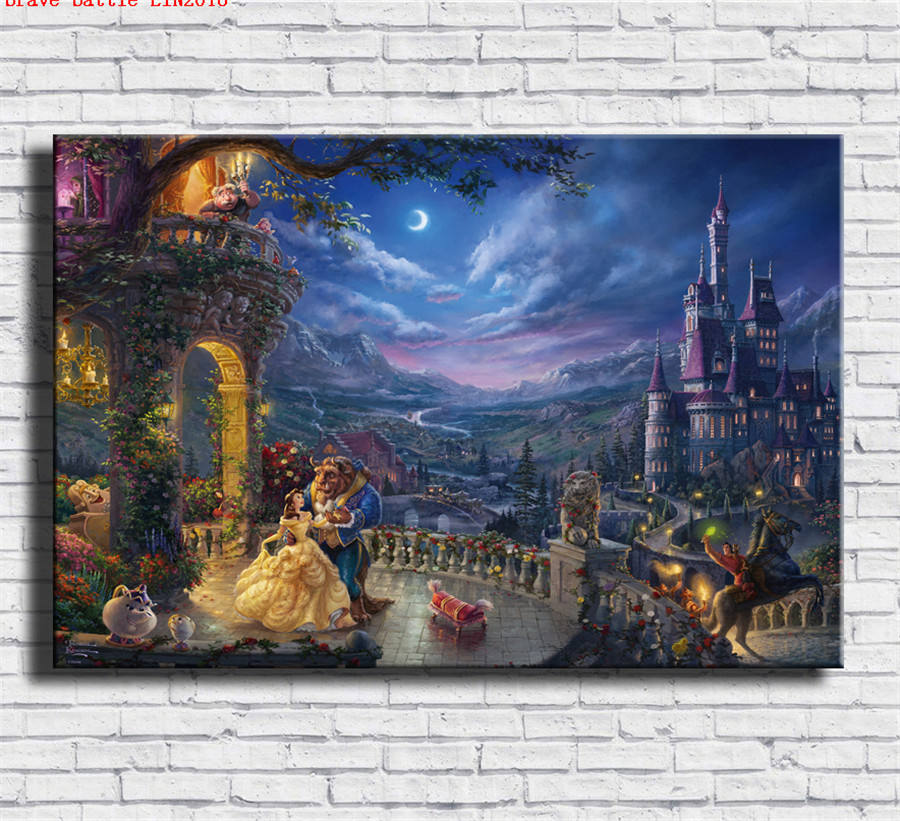 Thomas kinkade beauty and the beast canvas painting print - Home interiors thomas kinkade prints ...